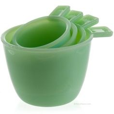 New | Opaque Jade Glass Nesting Measuring Cups #35645 | Cooking Accessories | RetroPlanet.com | $12.99