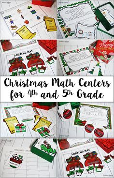 Christmas math centers and activities for fourth and fifth grade. This resource includes 12 Christmas themed math activities, including printables and centers.