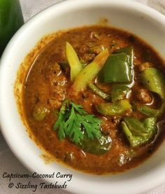 Sizzling Tastebuds: Capsicum Coconut Curry | Spicy side dish for Roti & Chapati