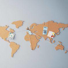 A world map cork board.