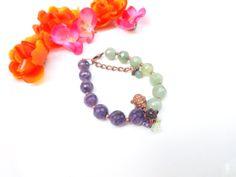 Fertility Bracelet Amethyst Aventurine Gemstone by lyrisgems, $35.00