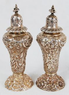 Tiffany & Co. sterling silver salt and pepper shakers. Handmade. Signed. 1880s-1920s. Just gorgeous!