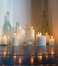candles in non working fireplace, or even a working fireplace. Love.