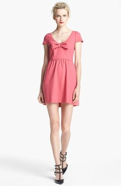 Red Valentino Pink Short Sleeve Stretch Crepe Dress