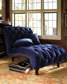 "Maybe not in this color but it looks like a great chaise for reclining! Old Hickory Tannery ""Royal Marco"" Chaise Velvet Furniture, Cool Furniture, Furniture Design, Blue Furniture, Furniture Cleaning, Furniture Chairs, Luxury Furniture, Antique Furniture, Home Interior"