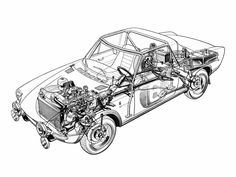 Fiat Abarth 124 Rally designed by Pininfarina - Illustrator unknown Fiat 124 Sport Spider, Fiat 124 Spider, Fiat Abarth, Technical Drawing, Fiat 500, Cutaway, Cars And Motorcycles, Line Art, Rally