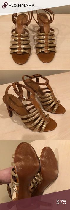"Tory Burch ""Charlene"" heeled sandal. Size 6.5 Tory Burch Charlene Gladiator Heeled Sandal. Tan and gold. Size 6.5. Worn only a few times and in great condition. Do not have original box. Tory Burch Shoes Sandals"