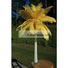 Wholesale Yellow Ostrich Feather Centerpieces 6 Sets Wedding Events BULK DISCOUNT CHEAP DOZEN