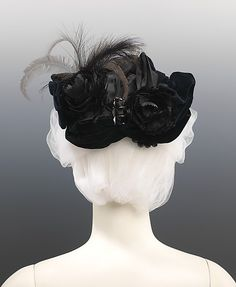 Evening Hat Made Of Silk, Feather, Jet And Beads - American   c.1885  -  The Metropolitan Museum Of Art