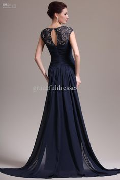 Free shipping, $149.03/Piece:buy wholesale Real Images!A-line scoop lace and chiffon ruffles sheath navy blue sweep train formal dresses long evening dress from DHgate.com,get worldwide delivery and buyer protection service.