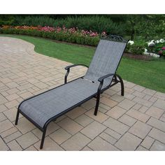 Oakland Living Corporation Radiance Aluminium/Metal/Synthetic Foldable  Sling Chaise Lounge, Patio Furniture