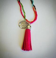Boho Tassel Necklace Tree of life Gift by stinkncutemj on Etsy