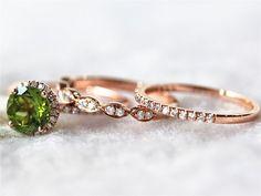 Multi Ring Set 7mm Colored Peridot Ring Gemstone Halo by InOurStar