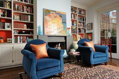 Love the painting on the wall. Society Hill Renovation - eclectic - living room - philadelphia - Kelly Nelson Designs