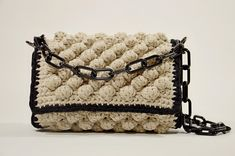 Crochet Cotton Chunky Summer Bag With Adjustable Black Resin Chain, Summer Crossbody Bag, Women Shoulder Bag, Fashion Gift For Her, Vacation