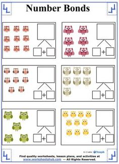 Teach your First Grade student about addition using these number bonds worksheets featuring full-color graphics kids are sure to love. Number Bonds Worksheets, First Grade Math Worksheets, Reading Worksheets, Number Bond Games, Common Core Curriculum, Addition Facts, Possible Combinations, Fact Families, Free Math