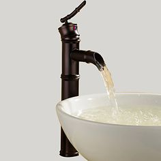Art Deco/Retro Vessel Waterfall with  Ceramic Valve Single Handle One Hole for  Oil-rubbed Bronze , Bathroom Sink Faucet – USD $ 61.19