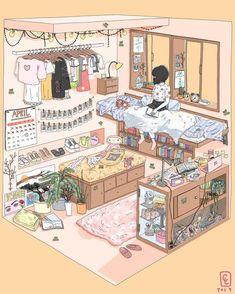 Anime room by catherine liu. – ImaginaryInteriors Anime emerged when Japanese filmmakers discovered and began to make use of American, … Arte Do Kawaii, Kawaii Art, Japon Illustration, Cute Illustration, Aesthetic Art, Aesthetic Anime, Arte Copic, Bedroom Drawing, Isometric Art