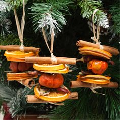ACHICA | Konesar Tree Decorations, Orange Slices/Chilli/Pumpkin/Cinammon