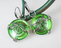 Dragonfly Earrings Green Czech Glass Buttons Oxidized Silver Dragonfly Jewelry