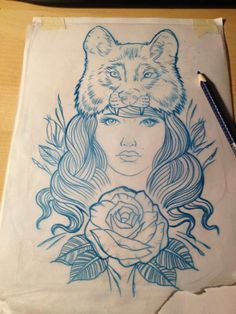 Wolf-hat girl tattoo design/drawing by  Mr Curtis at tribalbodyart.co.uk