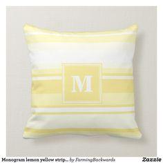 Shop Monogram lemon yellow stripes throw pillow created by FarmingBackwards. Kids Pillows, Throw Pillows, M Monogram, Yellow Pillows, Lemon Yellow, Designer Pillow, Yellow Stripes, Stripes Design, Custom Pillows