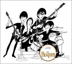 Al Hirschfeld ~ The Beatles on Ed Sullivan: Paul McCartney, John Lennon, George Harrison, and Ringo Starr