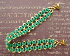 Linda's Crafty Inspirations: Bracelet of the Day: Bandwidth Bracelet - Turquoise & Gold