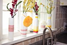 the winthrop chronicles: washi tape vases