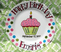 Personalized Birthday Plate. Hand Painted Girly Cupcake with Sprinkles . Made to Order .One of a Kind via Etsy