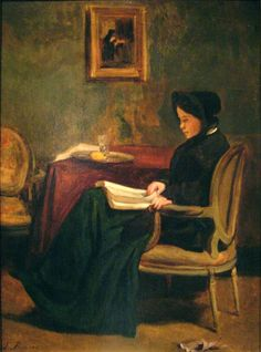 Seated Woman Reading (c.1862). François Bonvin (French, 1817-1887).Oil on wood panel. Baltimore Museum of Art.After becoming acquainted with Gustave Courbet, Bonvin became a leading exponent of Realism. Though he had little money, he encouraged and supported other artists, frequently giving supplies to his talented half-brother, Leon Bonvin. When the Salon rejected his fellow Realists James McNeill Whistler and Henri Fantin-Latour in 1859, Bonvin exhibited their work in his atelier.