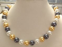 f0442 Charming!12mm 3Color Sea Shell Pearl Round Beads Necklace AAA 18""