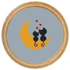 Cross Stitch Pattern PDF love cats moon par Source by violettepap Small Cross Stitch, Cute Cross Stitch, Cross Stitch Animals, Modern Cross Stitch, Cross Stitch Charts, Cross Stitch Designs, Cross Stitch Patterns, Cross Stitching, Cross Stitch Embroidery