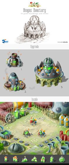 Biogas Reactory: In game buildings and items by Just Games, via Behance