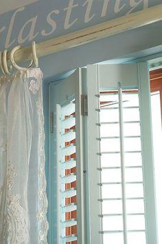 Custom colour from Dulux. Bedroom Shutters, Bedroom Windows, Window Shutters, Grey Walls, Decor Ideas, Nursery, Curtains, Colour, House