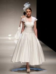 843cdeafe7f V Neck Tea Length Chiffon and Taffeta Bridal Gown Tea Length Wedding Dress