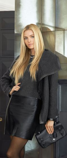 The luxurious draped Talisa coat from Ralph Lauren Women's Black Label is crafted from a rich, double-faced wool herringbone blend and features supple lambskin trim at the edges.