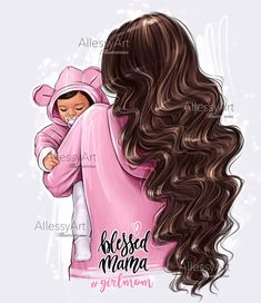 Mother And Daughter Drawing, Mother Art, Mom Quotes From Daughter, Mom Daughter, Illustration Mode, Portrait Illustration, Superhero Gifts, Pregnancy Art, Girly M