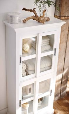 Choose this linen cabinet as a convenient little solution for storage in the bathroom. HomeDecorators.com #bath #storage