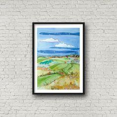 Golf Print, British Open - Royal Liverpool, #hoylake #royalliverpool #golf #art #illustration #drawing #jennydunlopart