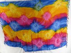wholesale tie dye dresses sarong starburst blue pink yellow $4.95 - http://www.wholesalesarong.com/blog/tie-dye-dresses-sarong/