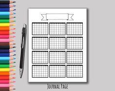 Yearly Calendar Printable Calendar Bullet Journal Bujo