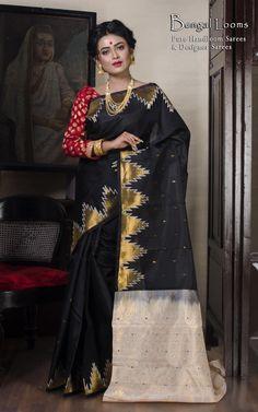 Pure Kanjivaram SIlk Saree in Black and Off White