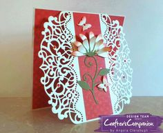 """6"""" x 6"""" Card made using Crafter's Companion Die'sire Create-A-Card Decorative Die Sophia. Designed by Angela Clerehugh #crafterscompanion"""