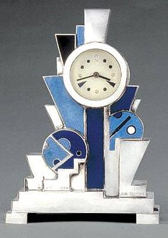 Art Decó Silvered Bronze and Enamel Clock (1928) by Jean Goulden, France