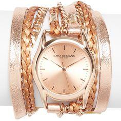 Sara Designs Metallic Rose Gold Tone Chain Wrap Watch, 33mm