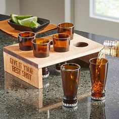 Bottle Tops Shot Glass Set - A must for any shot glass collection, this set takes the classic boilermaker—a shot of whiskey an - Liquor Bottle Crafts, Alcohol Bottles, Diy Bottle, Empty Liquor Bottles, Bottle Cutting, Shot Glass Set, Bottle Lights, Glass Collection, Wine Bottle Crafts
