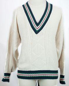 Eddie Bauer Usa Tennis Cricket Prep Pullover Sweater Stripe Grandpa Mens XL Vtg #EddieBauer #VNeck