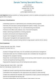 sample training specialist resume