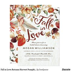 Fall in Love Autumn Harvest Pumpkin Bridal Shower Card Rustic fall in love bridal shower invitations with boho feathers, autumn flowers, falling leaves, pumpkins, mushrooms and apples.